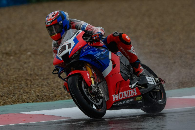 Team HRC gets to work at a wet Magny-Cours