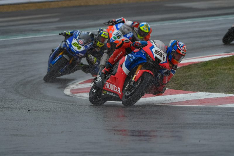 Haslam in top 5 battle until a last lap crash, Bautista improves his pace at wet Magny-Cours